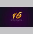 16 sixteen gold golden number numeral digit logo vector image vector image