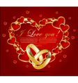 Abstract card with glossy red hearts vector image vector image