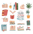 books and reading elements set stack vector image vector image