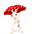 Bunny under umbrella vector image vector image