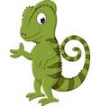 cartoon chameleon posing vector image vector image