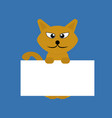 cartoon orange pet cat showing a placard isolated vector image