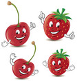 cartoon strawberry and cherry giving thumbs up vector image