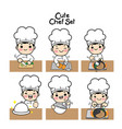 characters set in chef uniform vector image