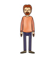 color crayon stripe cartoon full body male person vector image vector image