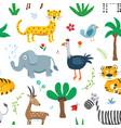cute animals seamless pattern cartoon animals vector image
