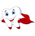 Cute cartoon superhero tooth posing vector image vector image