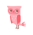 cute funny cartoon pink owlet bird character vector image vector image