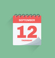 day calendar with date september 12 vector image