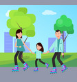 family roller skating together vector image vector image
