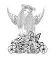 Forest fairy with wings and wreath on the head vector image