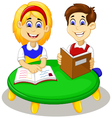 funny little girl and boy cartoon studying togethe vector image