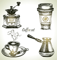 Hand drawn coffee set vector image vector image