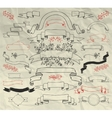 Hand Drawn Doodle Ribbons Collection on Crumpled vector image vector image