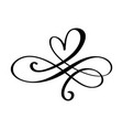 hand drawn heart love sign romantic calligraphy vector image