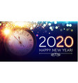 happy hew 2020 year clock fileworks lights vector image vector image
