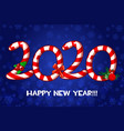 happy new year 2020 text as lollipop vector image vector image
