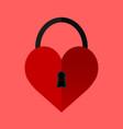 heart lock love sign flat design vector image vector image