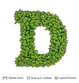 letter d symbol of green leaves vector image