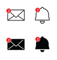 letter envelope and bell set vector image vector image