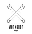 line style icon crossed wrenches workshop vector image vector image