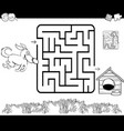 maze with dog and kennel coloring page vector image vector image