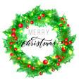 merry christmas holiday hand drawn calligraphy vector image vector image