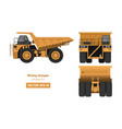 mining dumper on white background vector image vector image