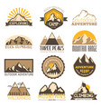 mountain outdoor travel icons set vector image vector image