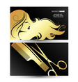 profile girl with hairstyle business card golden vector image vector image