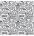 seamless pattern hand drawn sketch icons vector image