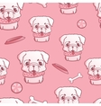 Seamless pattern with sweet little pug puppy vector image