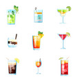 Set nine tropical cocktails in flat style