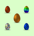 set of bright multicolored realistic easter eggs vector image vector image