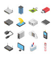 set of network and data center icons vector image