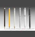 set of pencils and pens vector image vector image