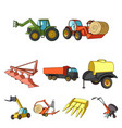 set of pictures about agricultural machinery cars vector image vector image