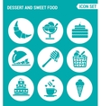 set of round icons white Dessert and sweet food vector image