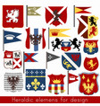 set of vintage heraldic elements for design vector image