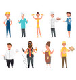 set professions builder doctor cook isolated vector image