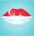 singapore flag lipstick on the lips isolated on a vector image vector image