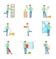 smiling househusbands washing cooking cleaning vector image vector image