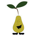 smiling pear on white background vector image vector image