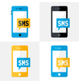 SMS Mobile Flat Set vector image vector image