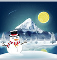 snowman in front winter lake with big mountain vector image