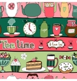 Tea time seamless background pattern vector image vector image