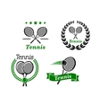 Tennis icons and emblems vector image vector image