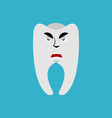tooth angry emoji teeth grumpy emotion isolated vector image vector image