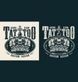vintage tattoo studio monochrome emblem vector image vector image