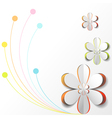 White Paper Flower on Colorful background vector image vector image